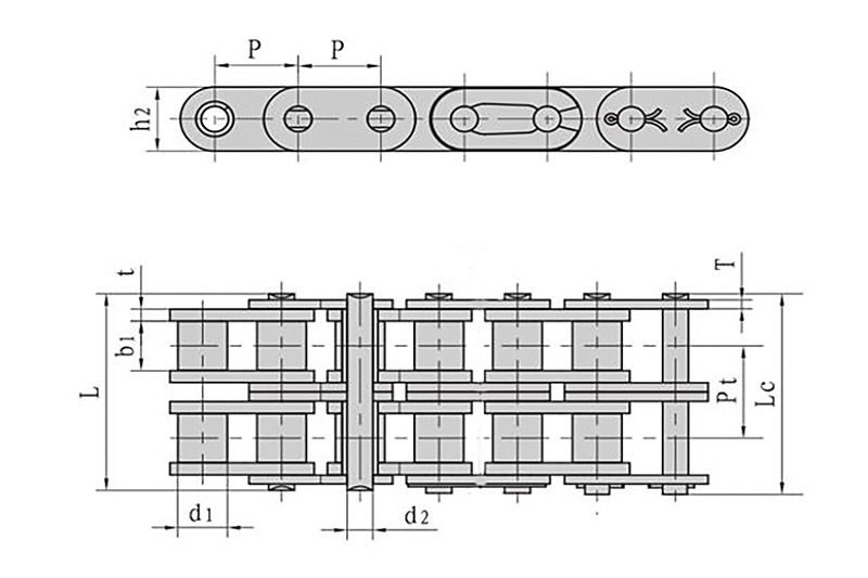 Roller chains with straight side plate ( B series ) 2