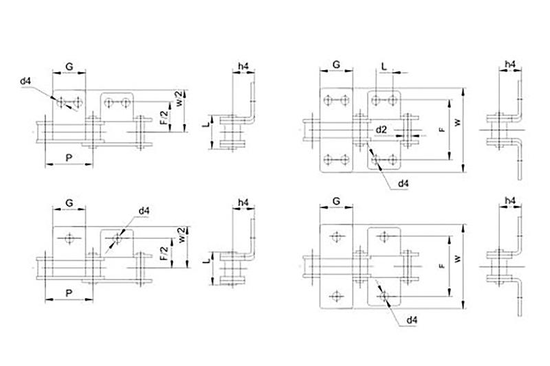 Double pitch conveyor chains attachments 1