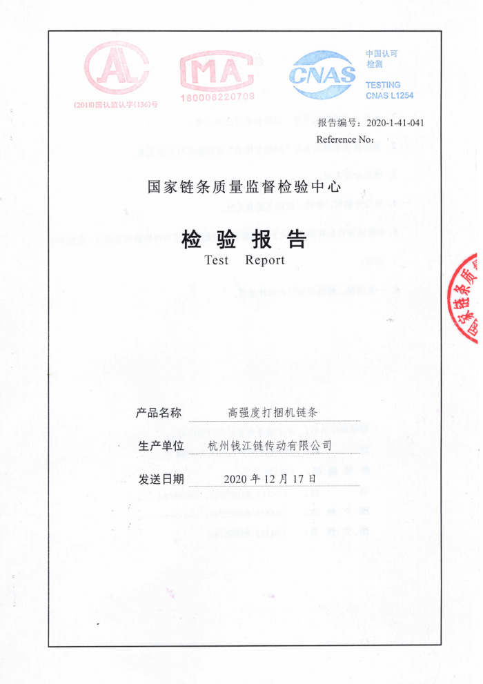 High-strength strapping machine chain inspection report 16AH-1