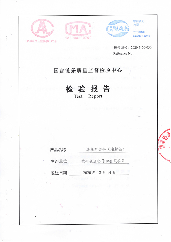 Oil seal chain inspection report 520V